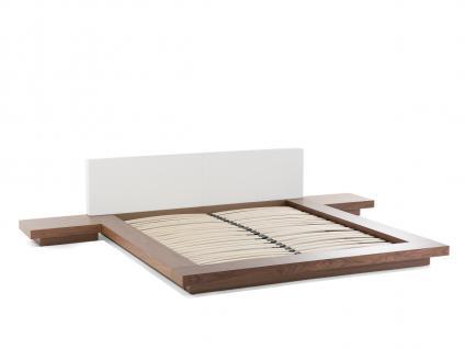 "Design Massivholz Bett ""Japan Style"" 180x200 cm Holz Bett Walnuss Hellbraun mit Lattenrost - Futonbett japanischer Stil - Vorschau 2"