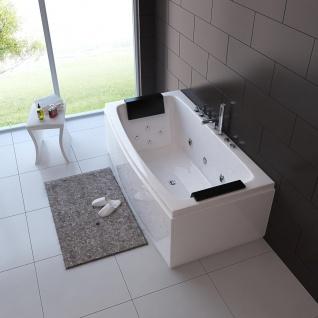 Luxus Whirlpool Badewanne Neapel 170 x 80 cm mit 12 Massage Düsen Spa für Bad freistehend an nur 1 Wand - Vorschau 3