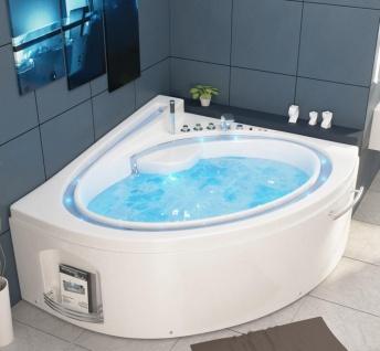 Luxus Whirlpool Badewanne Havanna mit 19 Massage Düsen + LED Bach + Heizung + Ozon für Bad weiss