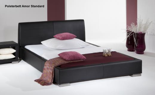 """Leder Bett / Polsterbett """"Amor"""" Lederbett weiss oder schwarz mit glattes Kopfteil günstig - Vorschau 5"""