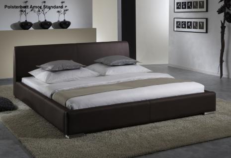 """Leder Bett / Polsterbett """"Amor"""" Lederbett braun oder beige / muddy mit glattes Kopfteil günstig - Vorschau 5"""
