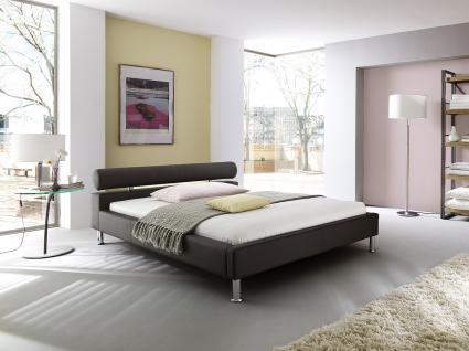 lederbett polsterbett amy modernes leder bett weiss schwarz oder braun kopfteil rund. Black Bedroom Furniture Sets. Home Design Ideas