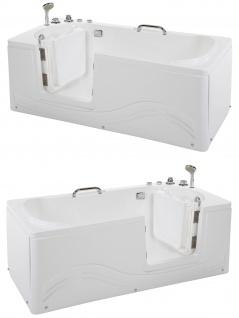 Senioren Whirlpool Badewanne für Altenpflege mit Armaturen Seniorenbadewanne mit 6 Massage Düsen + Tür