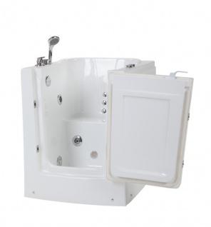 Senioren Whirlpool Badewanne zum sitzenden Baden für Altenpflege mit Armaturen Seniorenbadewanne mit 7 Massage Düsen + Tür