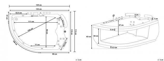 Doppel Whirlpool Badewanne Palermo mit 15 Massage Düsen + LED Beleuchtung Luxus Spa rechts günstig - Vorschau 5