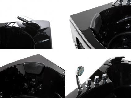 Whirlpool Badewanne Mallorca SCHWARZ mit 12 Massage Düsen + LED Beleuchtung Luxus Spa günstig - Vorschau 2