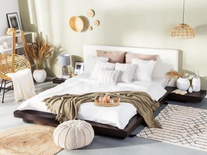 """Massives Designer Bett """"Japan Style"""" 160 / 180 x 200 cm Holz Bett Farbe Nougat mit Lattenrost - Futonbett japanischer Stil"""