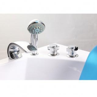 Luxus Whirlpool Badewanne Alicante mit 15 Massage Düsen + LED + Heizung + Ozon + Glas für Bad weiss - Vorschau 4