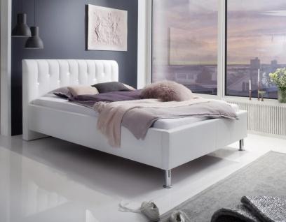 Luxus Designer Lederbett Rimini mit SWAROVSKI® Kristallen Leder Bett Glitzer Polsterbett WEISS
