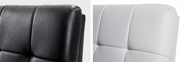 """Designer ECHTLEDER Bett echtes Lederbett """"Miami"""" schwarz + weiß Polsterbett mit Lattenrost / Lattenrahmen - Vorschau 2"""