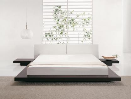 "Massives Designer Bett ""Japan Style"" 160 / 180 x 200 cm Holz Bett Farbe Nougat mit Lattenrost - Futonbett japanischer Stil - Vorschau 4"