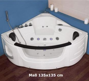 Luxus Whirlpool Badewanne London 135x135 / 140x140 / 157x157 cm mit 21 Massage Düsen + LED + Heizung + Ozon + Glas - Vorschau 2