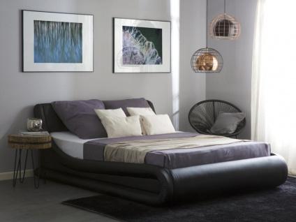 Designer Leder Polsterbett Alicante Lederbett schwarz 160 / 180 x 200 cm mit Bettkasten + Lattenrost - Vorschau 2