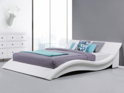 Designer ECHTLEDER Bett Polsterbett Vicky Lederbett schwarz weiß 180x200 cm mit Lattenrost günstig - Vorschau 3