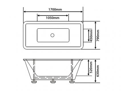 Freistehende Badewanne Amsterdam rechteckig Luxus Acryl Wanne für Bad Badezimmer Chrom freistehend günstig - Vorschau 3