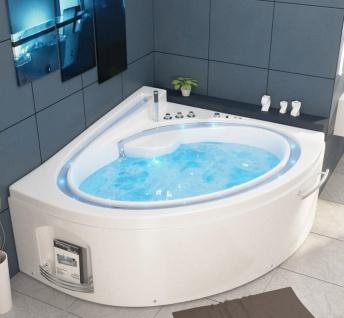 Luxus Whirlpool Badewanne Havanna Profi mit 19 Massage Düsen + LED Bach + Heizung + Ozon für Bad weiss