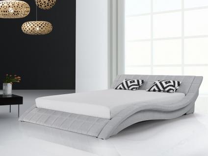 Designer Stoff Bett Polsterbett Vicky Lederbett schwarz + grau 180 x 200 cm mit Lattenrost - Vorschau 3