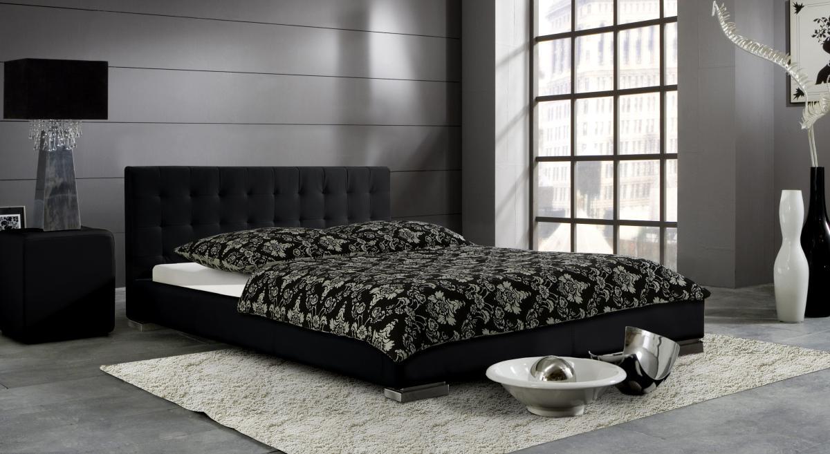 leder bett polsterbett sina niedriges lederbett weiss oder schwarz versteppt g nstig. Black Bedroom Furniture Sets. Home Design Ideas