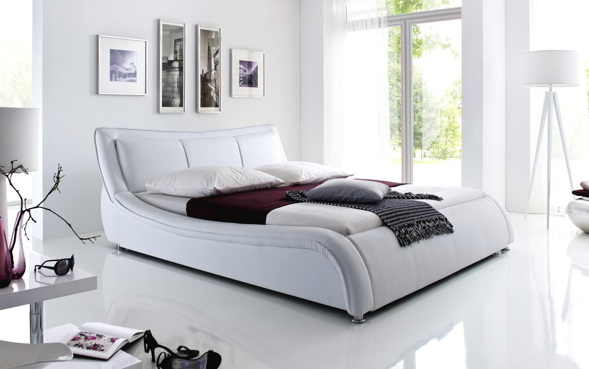 designer lederbett polsterbett selina bett weiss oder schwarz wellenf rmiges design kaufen