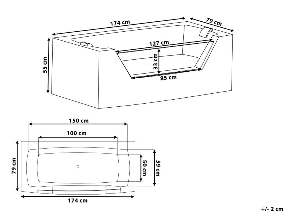 whirlpool badewanne samurai freistehend mit 10 massage. Black Bedroom Furniture Sets. Home Design Ideas