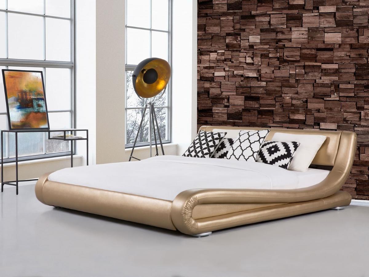 designer echtleder bett lederbett avignon gold polsterbett mit lattenrost lattenrahmen. Black Bedroom Furniture Sets. Home Design Ideas