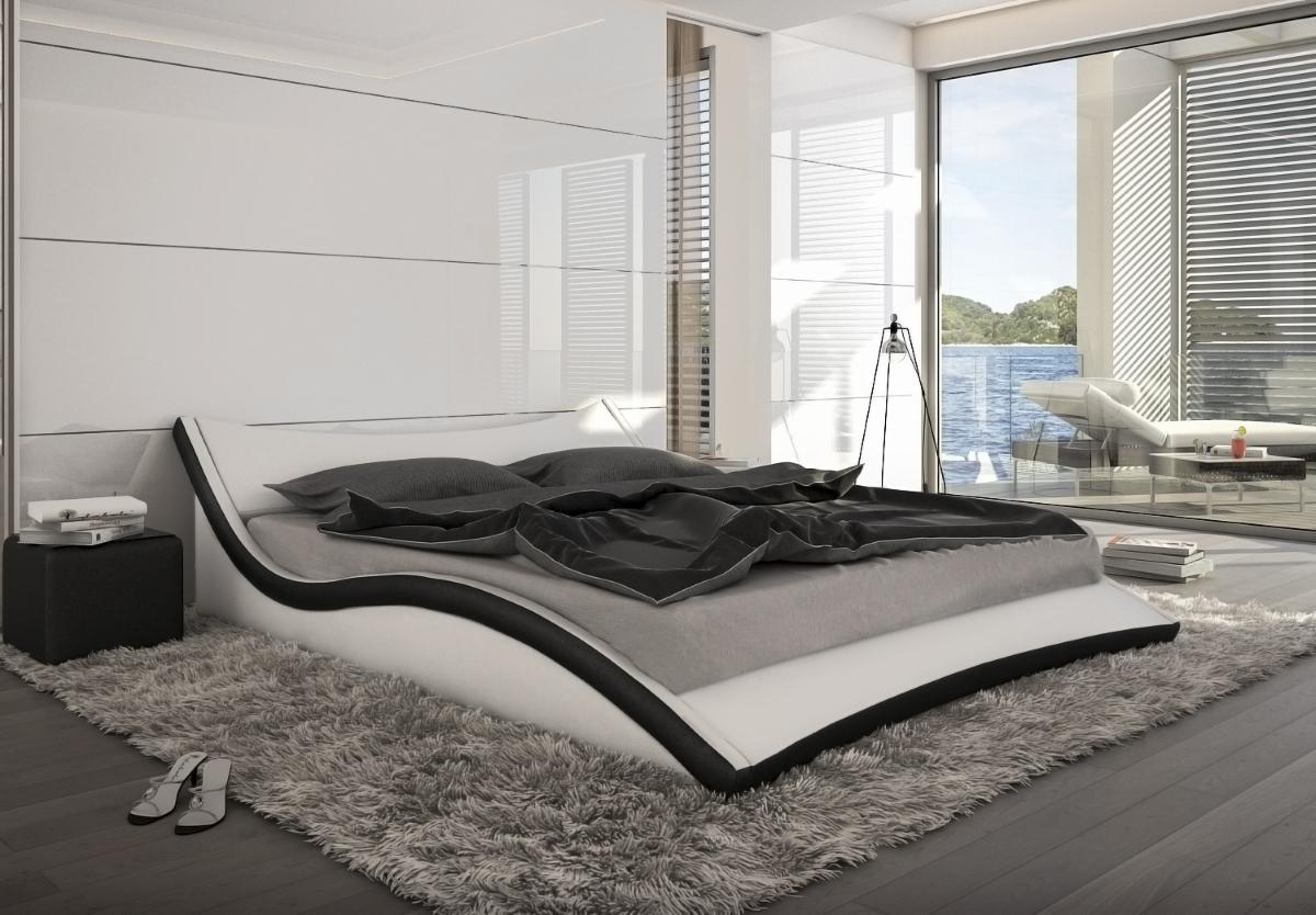 designer leder bett polsterbett neapel schwarz oder. Black Bedroom Furniture Sets. Home Design Ideas
