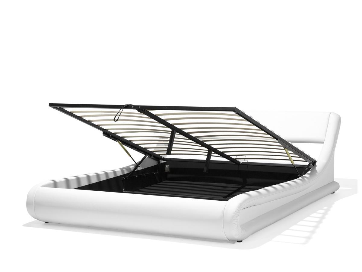 Designer Leder Polsterbett Alicante Lederbett Weiss 160 180 X 200 Cm Mit Bettkasten Lattenrost