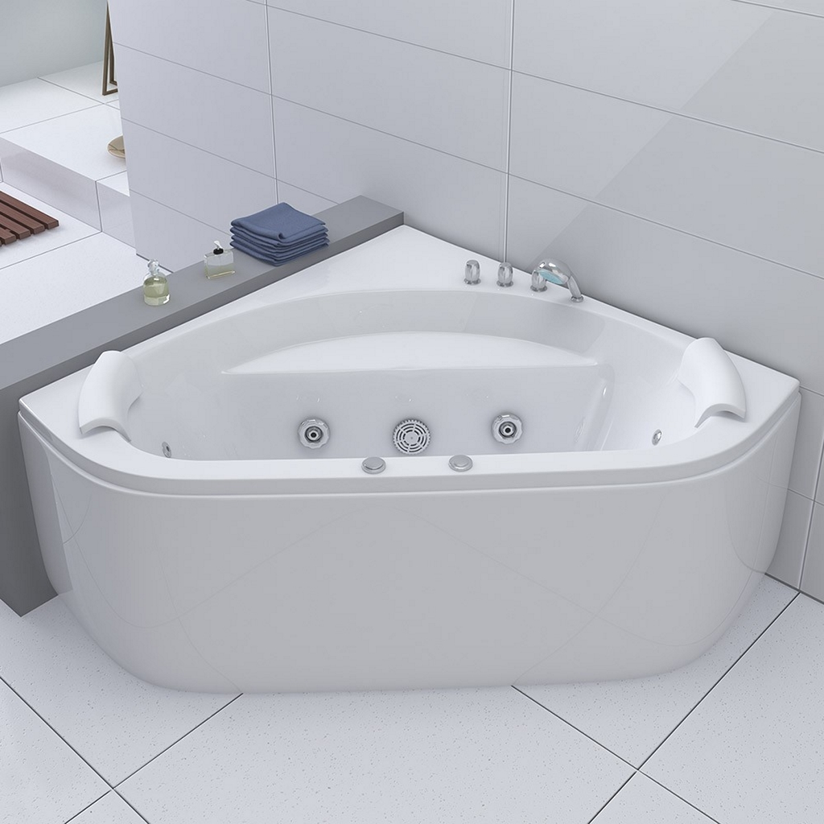 luxus whirlpool badewanne andorra 140 x 140 cm mit 12 massage d sen led spa f r bad eckwanne. Black Bedroom Furniture Sets. Home Design Ideas
