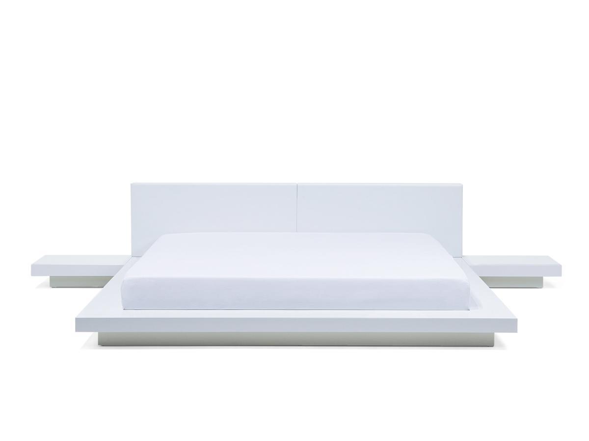 massives designer bett japan style 180x200 cm holz bett weiss mit lattenrost futonbett. Black Bedroom Furniture Sets. Home Design Ideas
