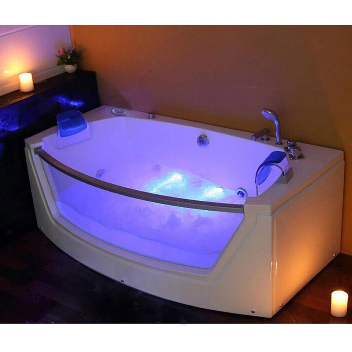 Luxus Whirlpool Badewanne Alicante mit 15 Massage Düsen + LED + ...