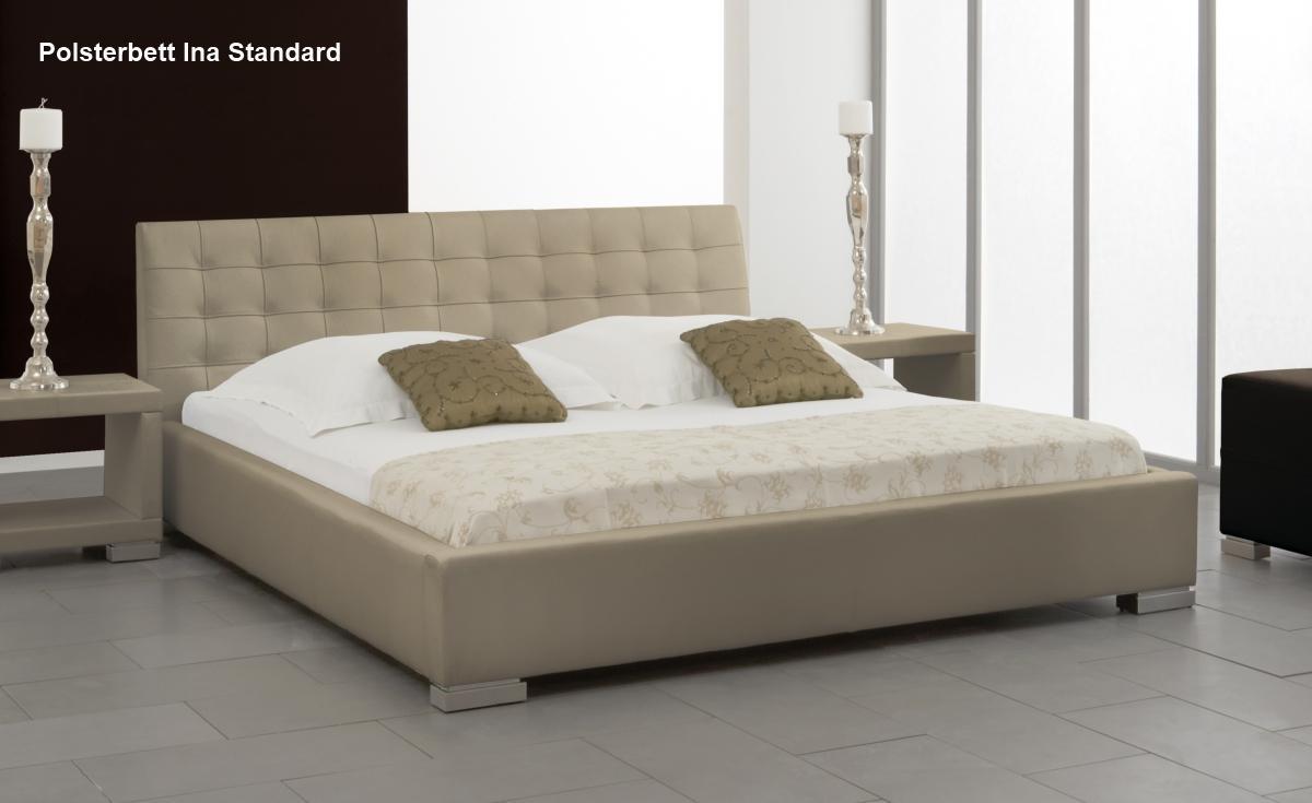 leder bett polsterbett ina lederbett braun oder beige muddy verstepptes kopfteil g nstig. Black Bedroom Furniture Sets. Home Design Ideas