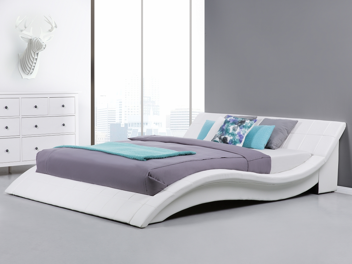 Metallbett weiß 180x200  Designer ECHTLEDER Bett Polsterbett Vicky Lederbett schwarz weiß ...