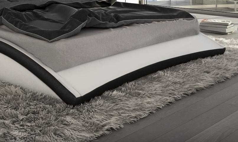 designer leder bett polsterbett neapel schwarz oder. Black Bedroom Furniture Sets. Home Design Ideas