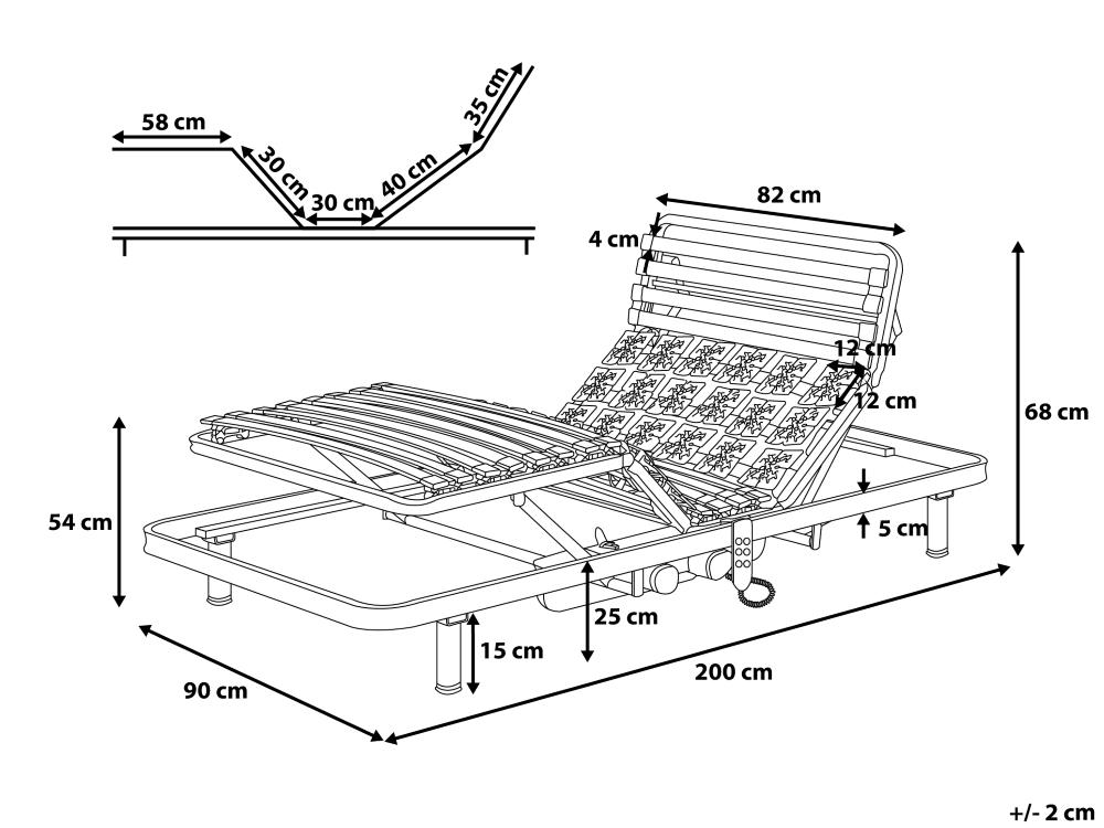elektrischer 7 zonen motor lattenrost lattenrahmen moonlight mit teller aufstehhilfe pflegebett. Black Bedroom Furniture Sets. Home Design Ideas