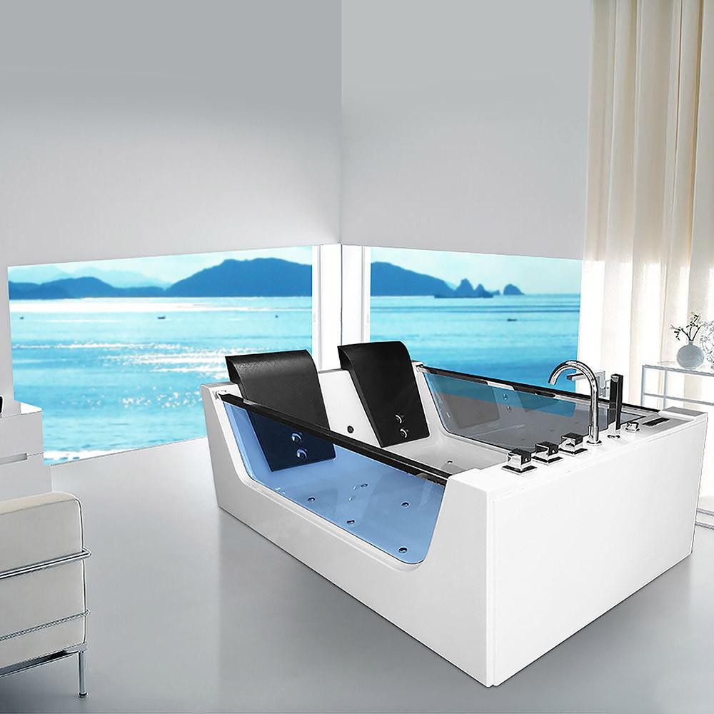 Xxl luxus whirlpool badewanne avignon freistehend mit 22 massage d sen led heizung spa f r - Whirlpool badewanne freistehend ...