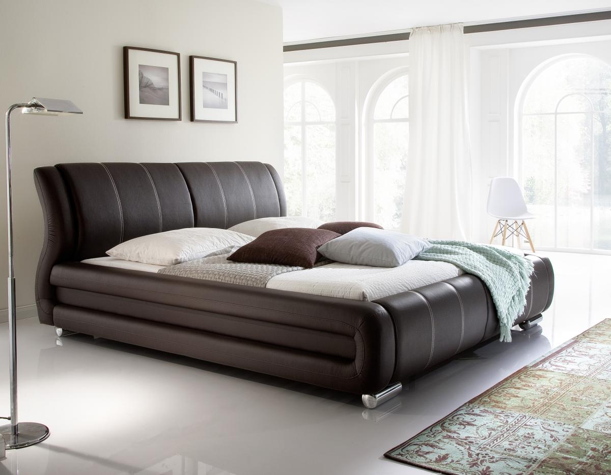 Designer Lederbett / Polsterbett Basel Leder Bett Weiss