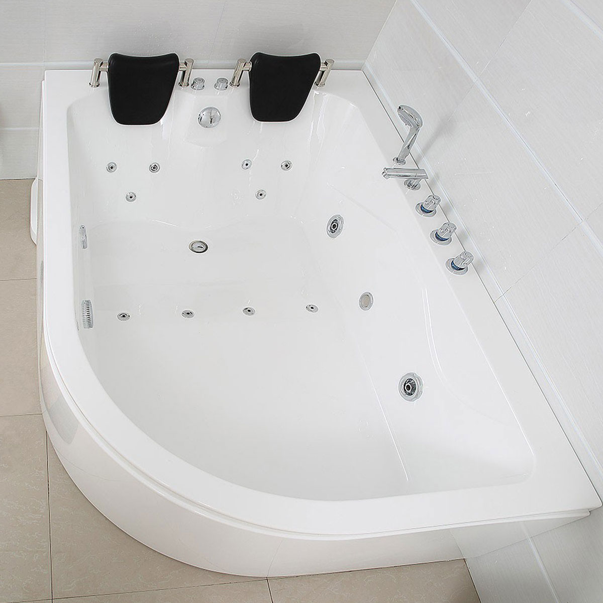 xxl luxus whirlpool badewanne bali links mit 14 massage d sen armaturen spa f r bad linke. Black Bedroom Furniture Sets. Home Design Ideas