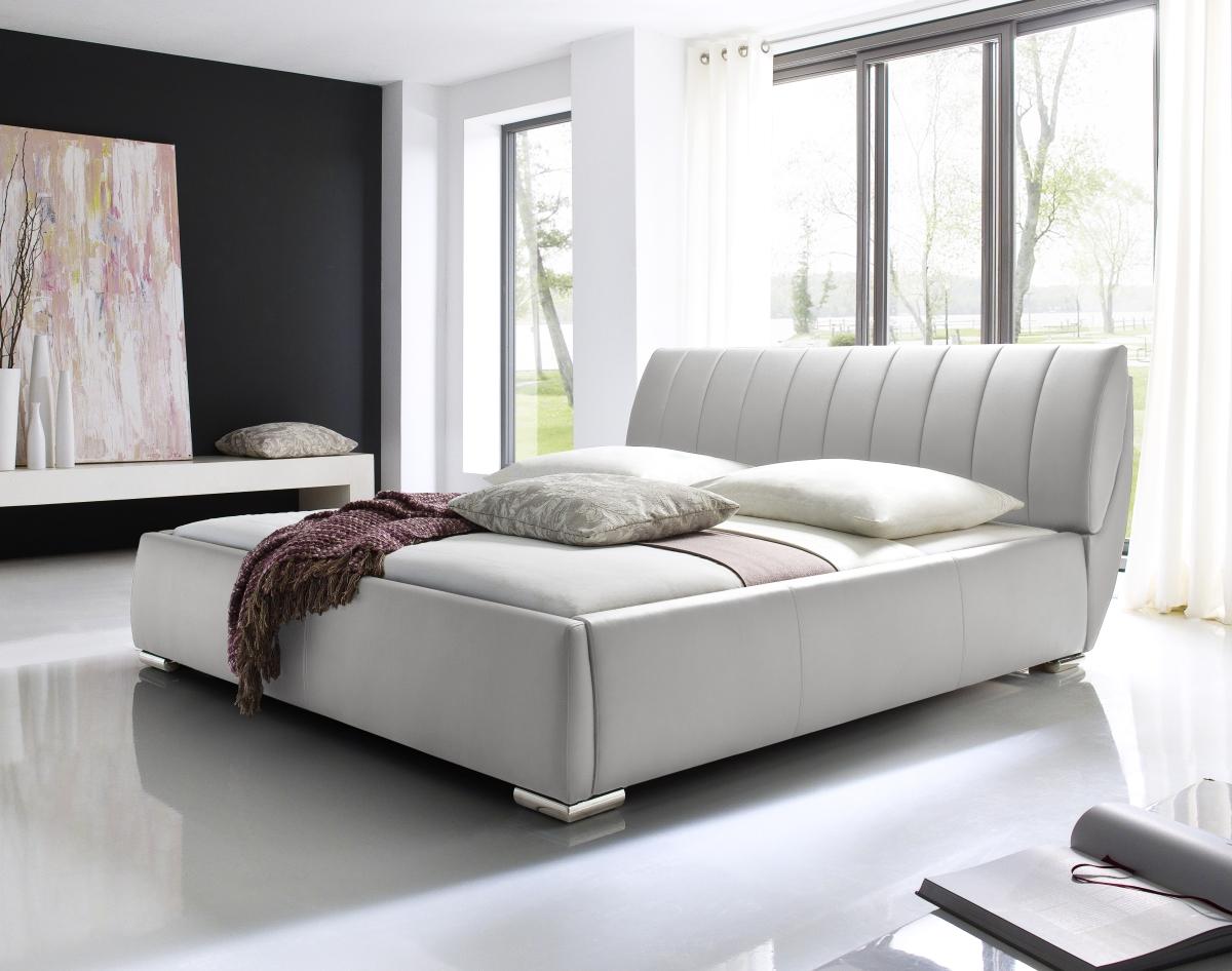 designer lederbett lara weiss mit lattenrost. Black Bedroom Furniture Sets. Home Design Ideas