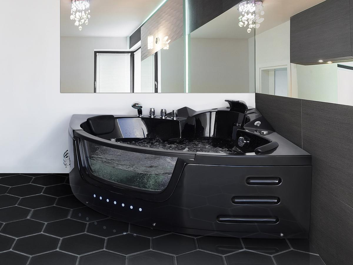 whirlpool badewanne mallorca schwarz mit 12 massage d sen led beleuchtung luxus spa g nstig. Black Bedroom Furniture Sets. Home Design Ideas