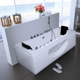 Luxus Whirlpool Badewanne Samurai Profi WEISS mit 26 Massage Düsen LED Heizung Ozon Glas für Bad