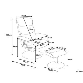 Moderner Massagesessel Lyon Leder Sessel mit Massage Farbe schwarz Fernsehsessel mit Hocker günstig - Vorschau 5