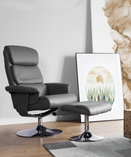 Moderner Massagesessel Lyon Leder Sessel mit Massage Farbe schwarz Fernsehsessel mit Hocker günstig