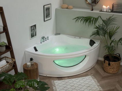 Whirlpool Badewanne Toskana weiss Eckwanne mit 10 Massage Düsen LED Glas Luxus Spa innen günstig