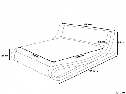 Designer Leder Polsterbett Alicante Lederbett schwarz 160 / 180 x 200 cm mit Bettkasten + Lattenrost - Vorschau 5