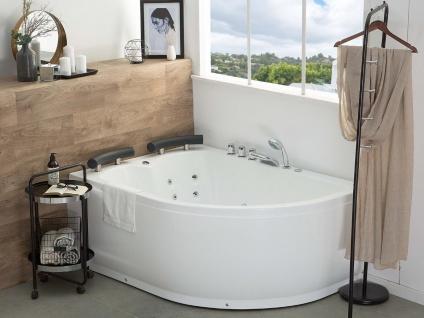 Doppel Whirlpool Badewanne Palermo weiss mit 15 Massage Düsen + LED Beleuchtung Luxus Spa links günstig