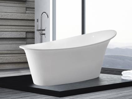 Freistehende Badewanne Haiti schöne Luxus Acryl Wanne für Bad Badezimmer oval Chrom freistehend günstig - Vorschau 1