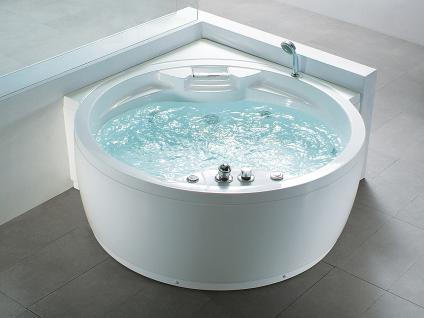 Whirlpool Badewanne Florenz rund mit 14 Massage Düsen + Heizung + Ozon + Wasserfall + Beleuchtung innen - Vorschau 1