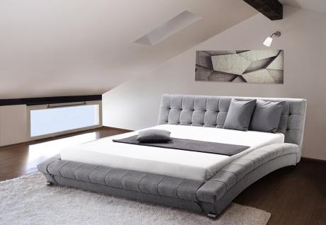 Designer Stoffbett Polsterbett Miami Stoffbezug grau 160 + 180 x 200 cm mit Lattenrost günstig NEU