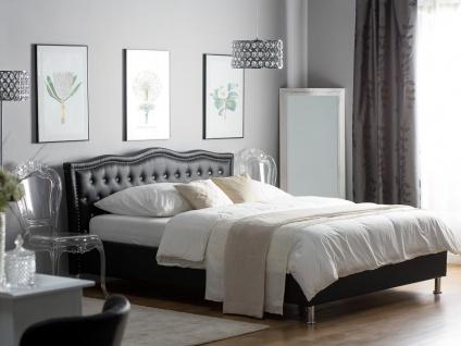 Barock Polsterbett Unicorn Einhorn Lederbett Bett schwarz mit Strasssteine Lattenrost op. Bettkasten