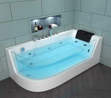 Luxus Whirlpool Badewanne Costa Rica RECHTS 170 x 80 cm mit Glas + Armaturen + 4 Massage Düsen + LED Spa für Bad